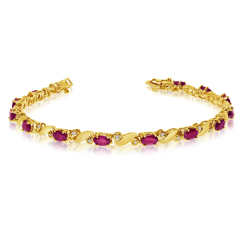 This 14k yellow gold natural ruby and diamond tennis bracelet features 13 oval rubys with a total...