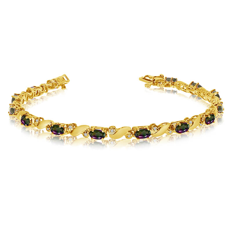 This 14k yellow gold natural mystic topaz and diamond tennis bracelet features 13 oval all natural mystic topaz. and a total diamond weight of 0.15 carats.