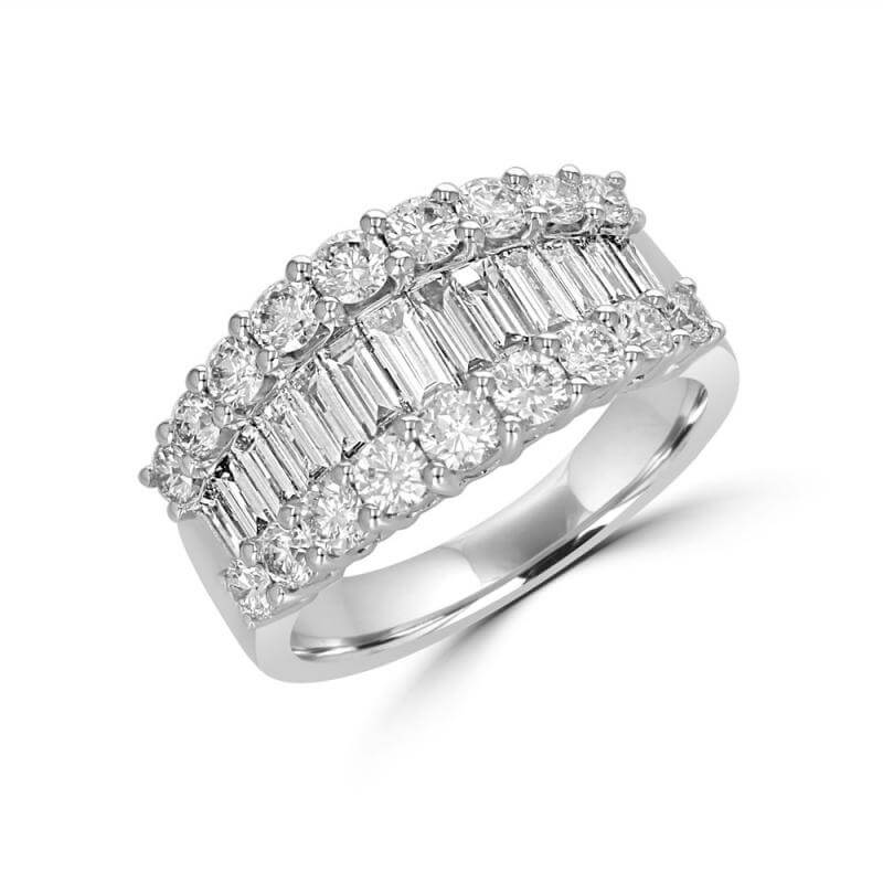 ROUND & BAGUETTE SMILE DIAMOND BAND RING