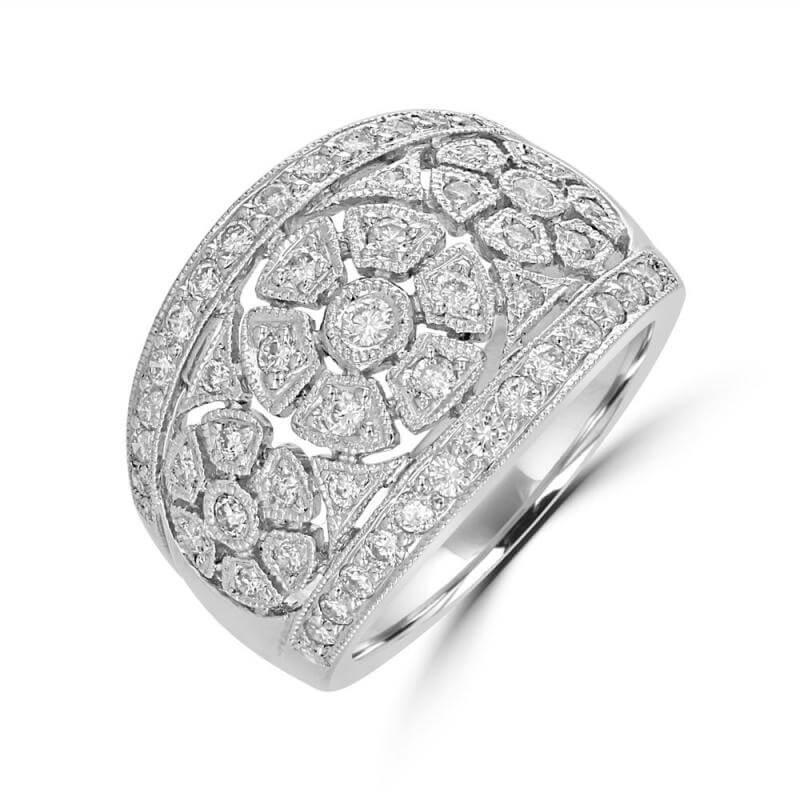 RND DIAMOND 3FLOWER BAND RING