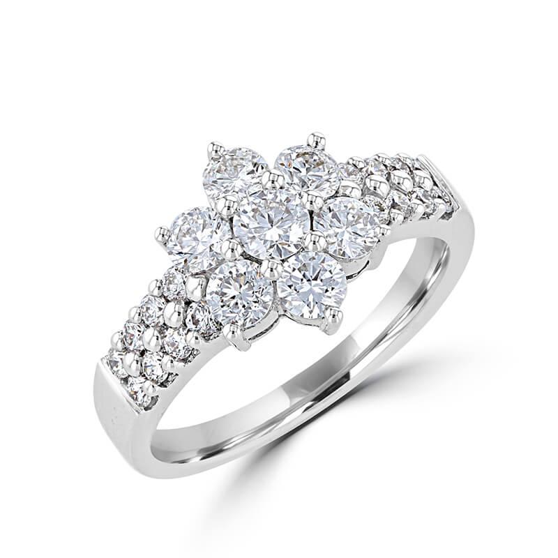ROUND DIAMOND FLOWER RING