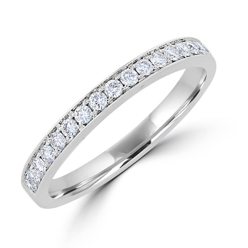 ROUND DIAMOND ONE ROW BEAD SET BAND RING