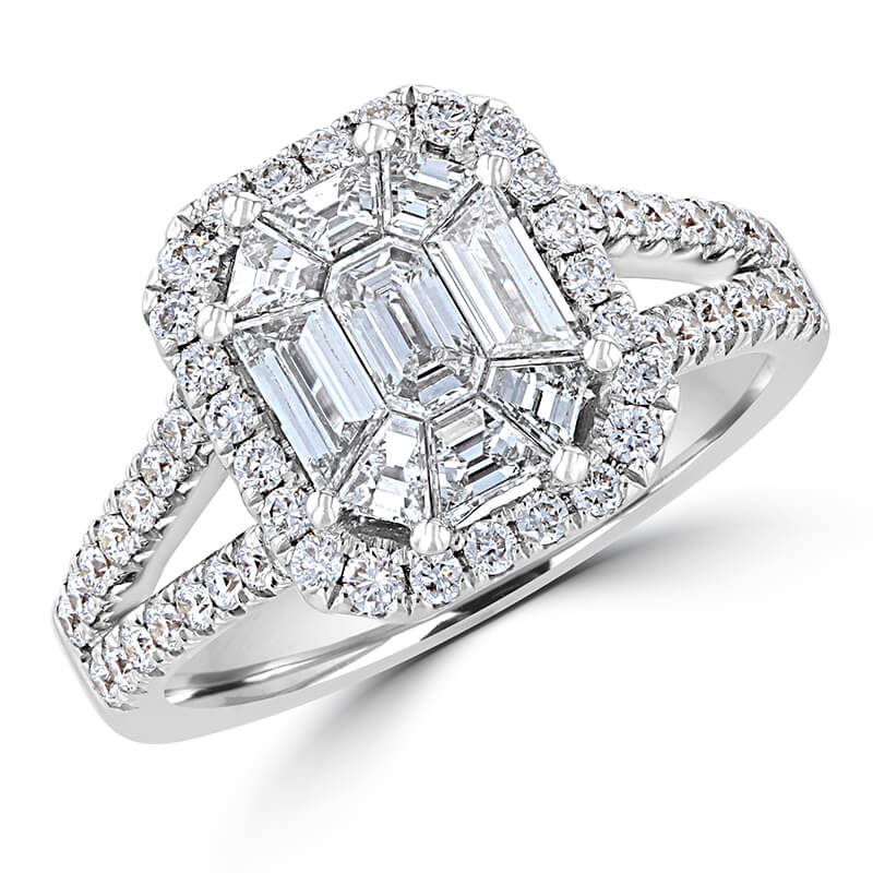 JCX391411: COMBO DIAMOND SURROUNDED BY DIAMOND & 2 ROW DIAMOND SHANK RING