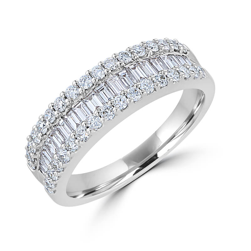 BAGUETTE AND ROUND DIAMOND BAND RING