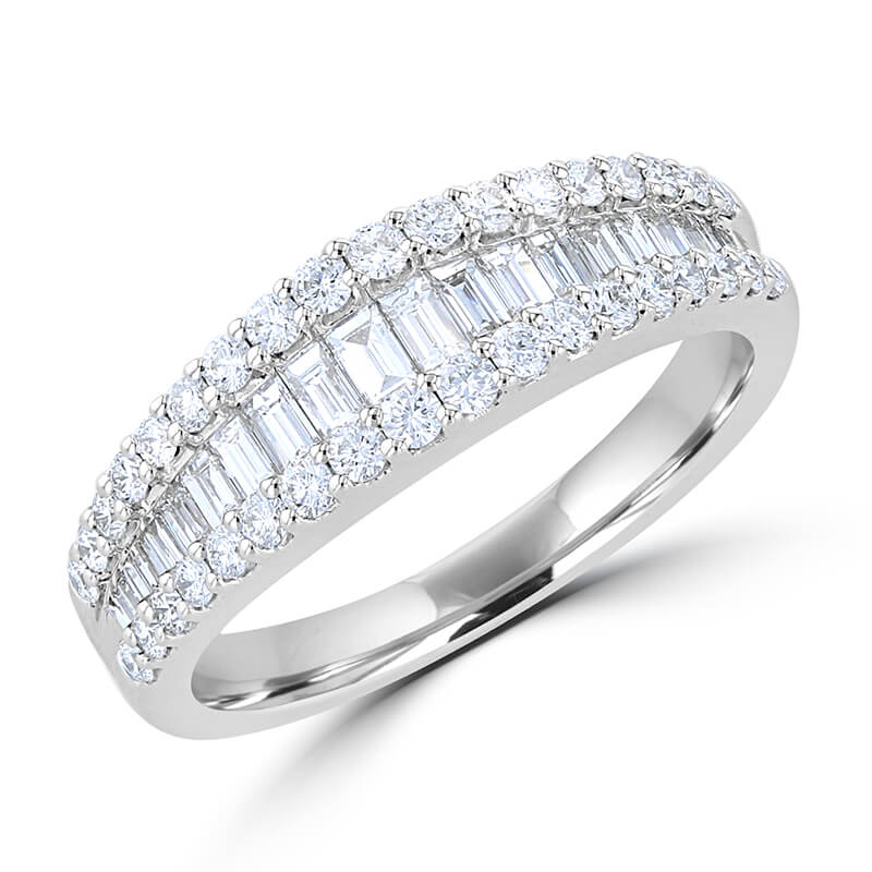 ROUND & BAGUETTE DIAMOND SMILE BAND RING