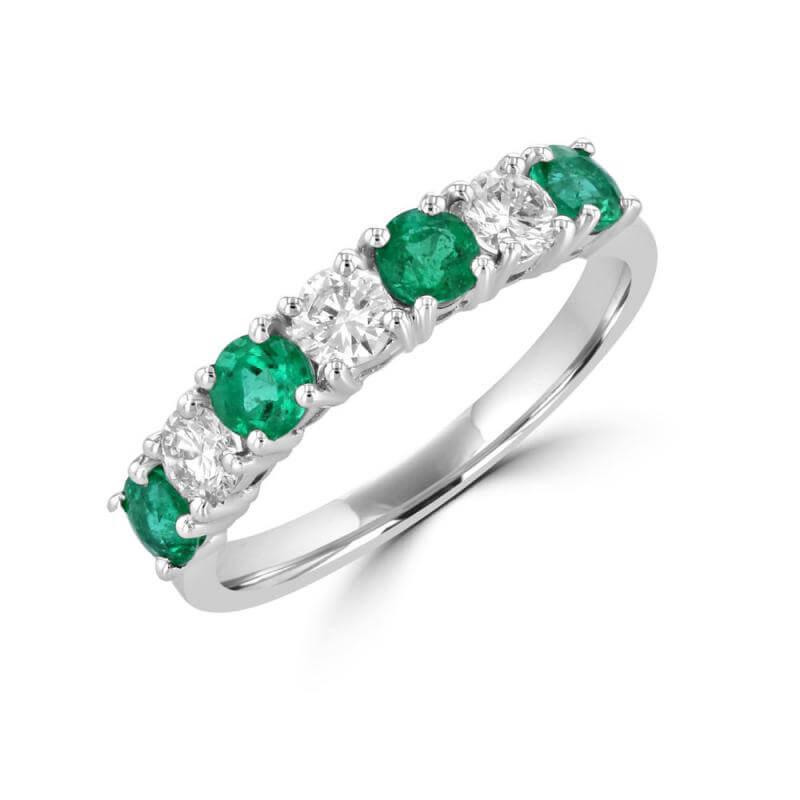 JCX391432: ROUND EMERALD & ROUND DIAMOND BAND RING
