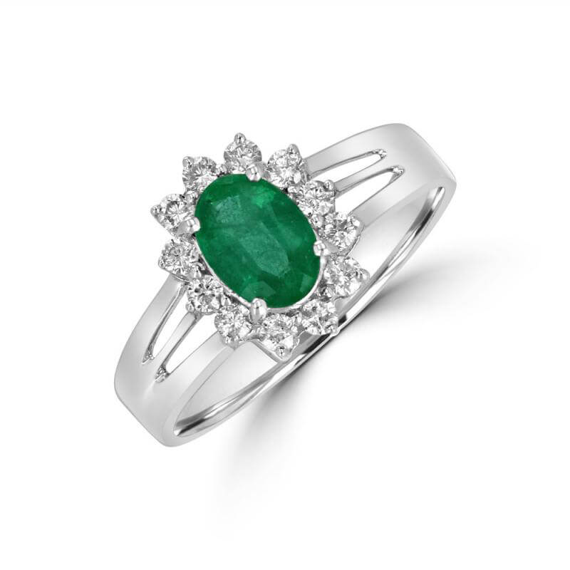 JCX391433: OVAL EMERALD SURR BY DIA RING