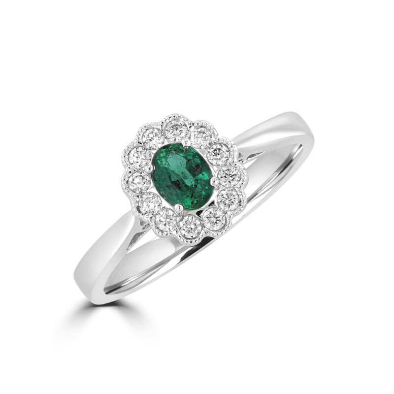 4X5 OVAL EMERALD HALO RING
