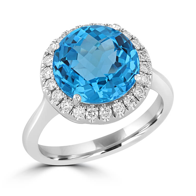 11X11 ROUND CHECKERED BLUE TOPAZ SURROUNDED BY DIAMOND RING
