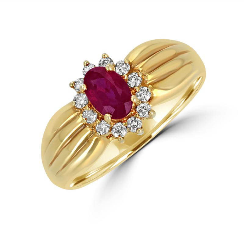 JCX391456: 4X5 OVAL RUBY SURROUNDED BY DIAMONDS RING