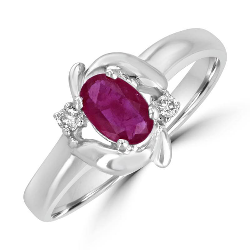 4X6 OVAL RUBY AND ONE DIAMOND ON EACH SIDE RING