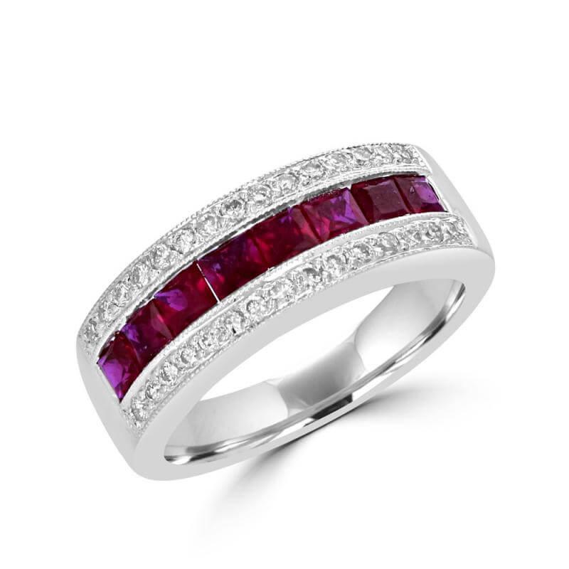 SQUARE RUBY & ROUND DIAMOND BAND RING