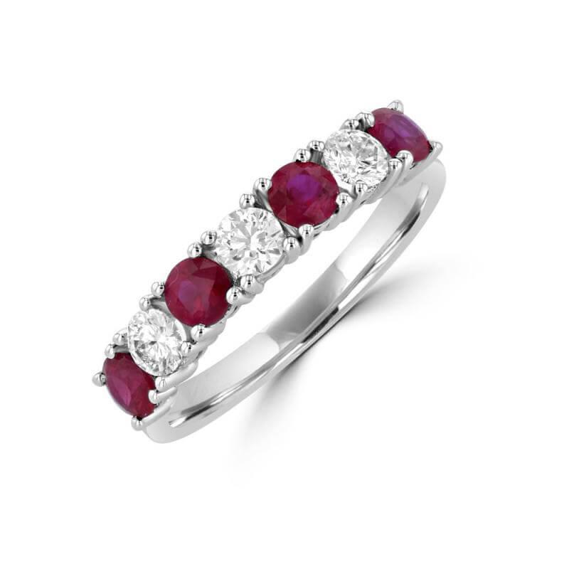 JCX391471: ROUND RUBY & ROUND DIAMOND PRONG BAND RING