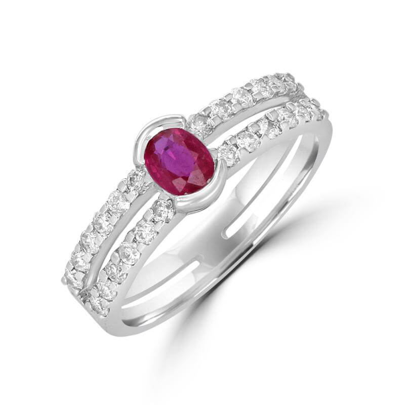 OVAL RUBY H.BEZEL TWOROW DIA RING