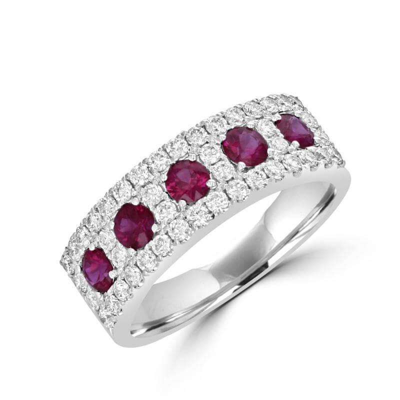 JCX391488: ROUND RUBY & ROUND DIAMOND BAND RING
