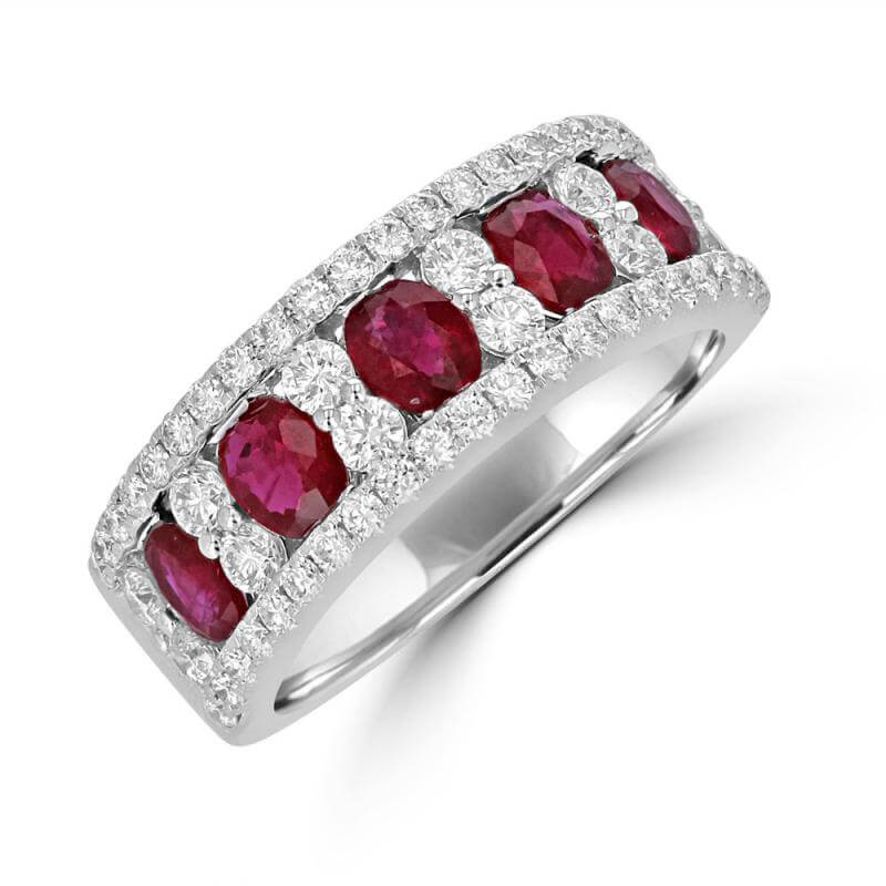 5 OVAL RUBY & ROUND DIAMOND BAND RING