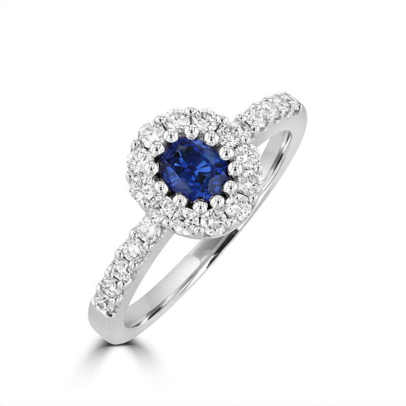 JCX391495: OVAL SAPPHIRE HALO RING
