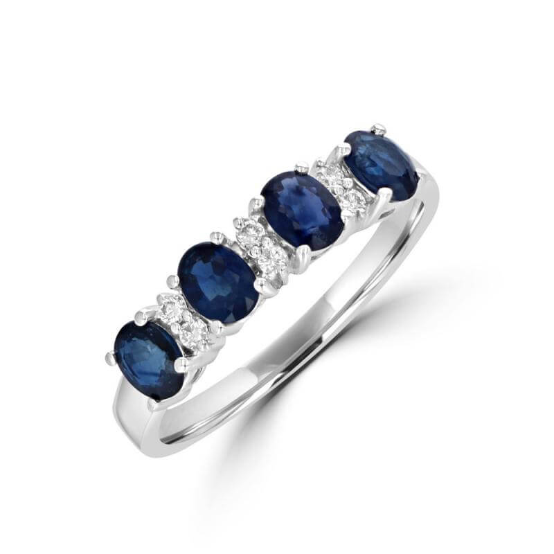 OVAL SAPPHIRE & TWO DIAMOND BAND RING