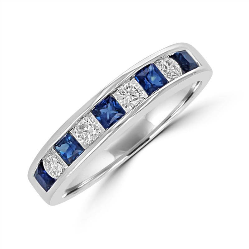 SQUARE SAPPHIRE & ROUND DIAMOND CHANNEL BAND RING