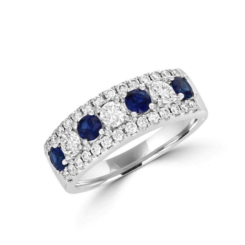 ROUND SAPPHIRE & ROUND DIAMOND BAND RING