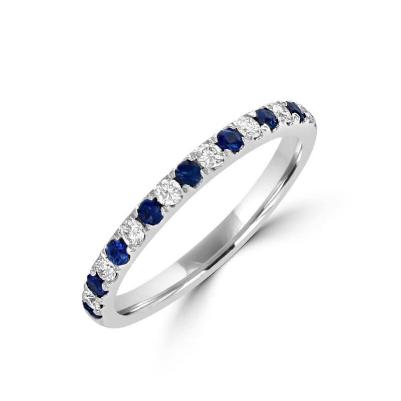 ROUND SAPPHIRE & ROUND DIAMOND PRONG BAND RING