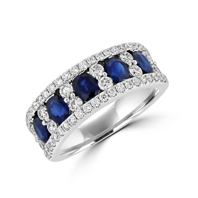 5 OVAL SAPPHIRE & ROUND DIAMOND BAND RING