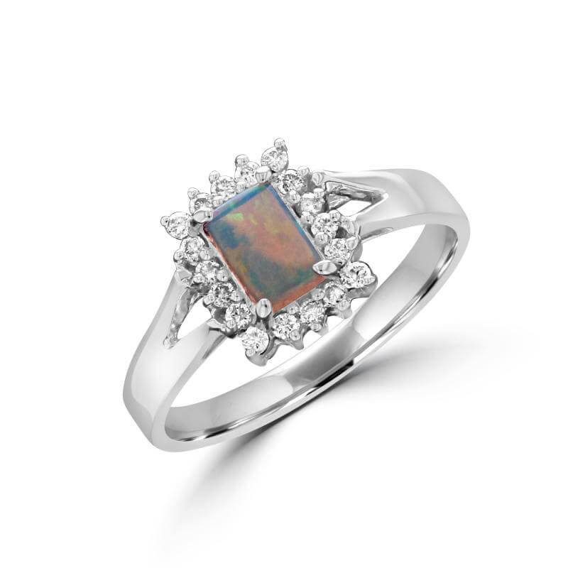 4X6 RECTANGLE OPAL SURROUNDED BY DIAMOND RING
