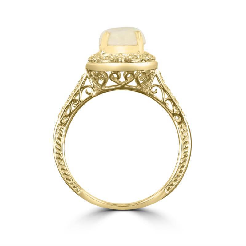7X9 OVAL OPAL & DIAMOND ANTIQUE RING