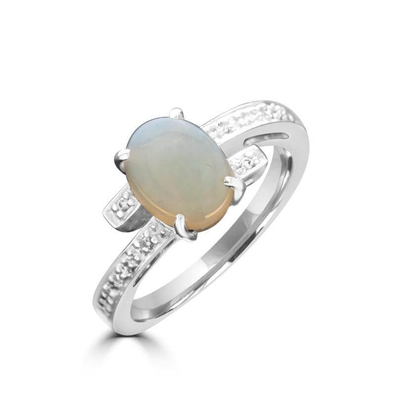 7X9 OVAL OPAL AND ROUND DIAMOND RING