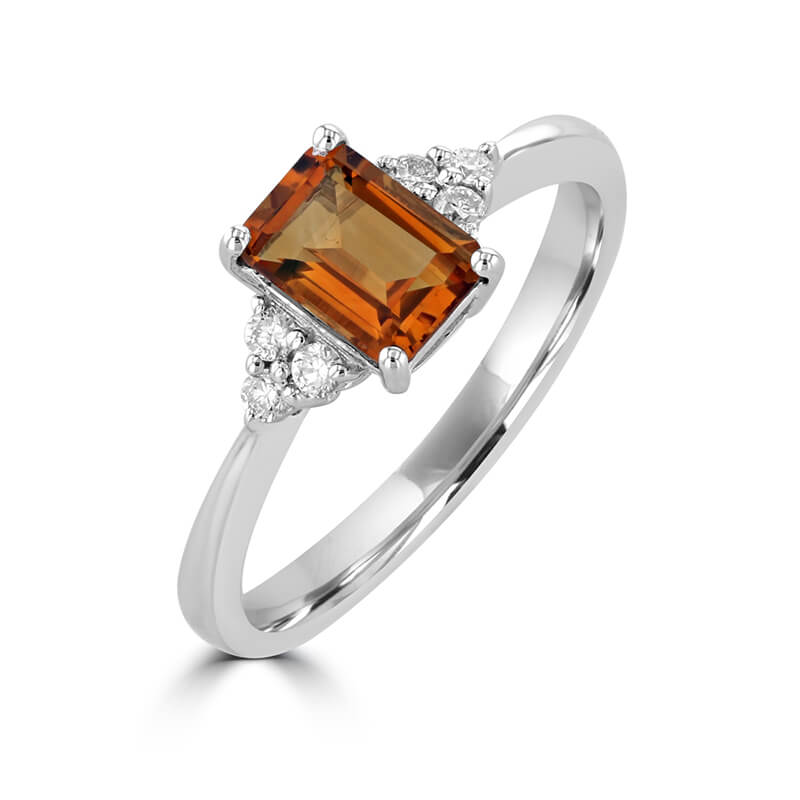 5X7 EMERALD CUT CITRINE WITH THREE DIAMONDS ON EACH SIDE RING