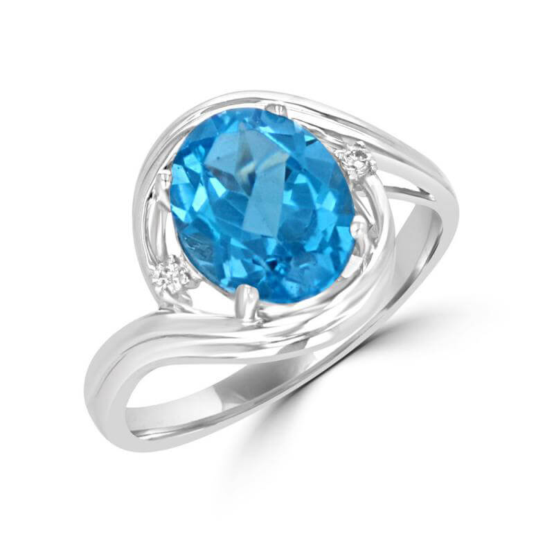 8X10 OVAL BLUE TOPAZ AND ONE DIAMOND ON EACH SIDE RING