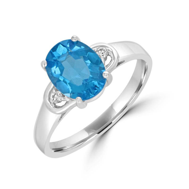 7X9 OVAL BLUE TOPAZ AND DIAMOND RING