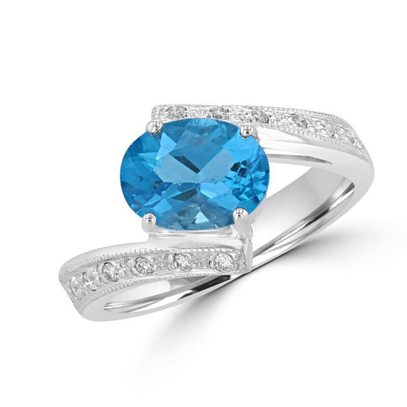 7X9 OVAL BLUE TOPAZ & DIAMOND RING