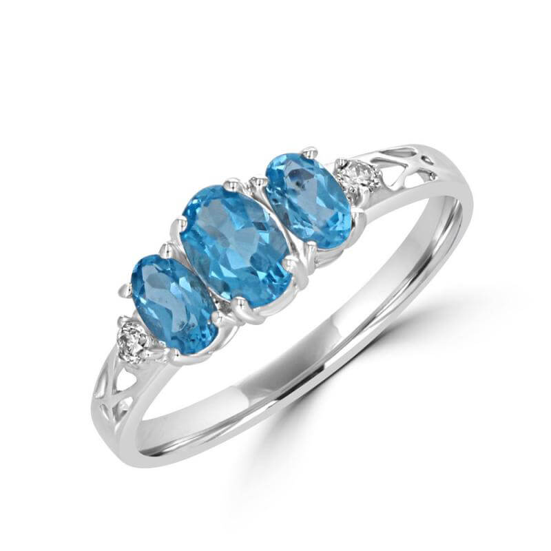 3 OVAL BLUE TOPAZ AND DIAMOND RING