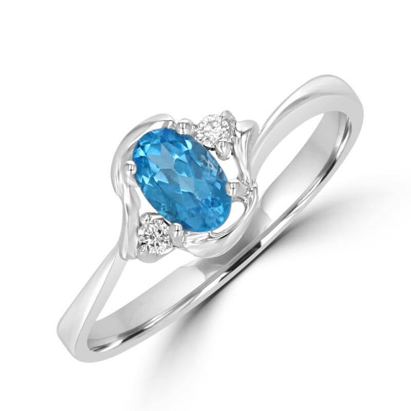 4X6 OVAL BLUE TOPAZ & ONE DIAMOND EACH SIDE RING
