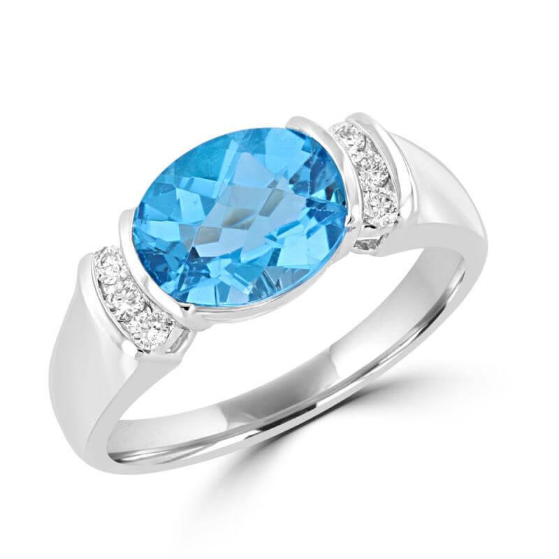 8X10 OVAL CHECKER BLUE TOPAZ & ROUND DIAMOND RING