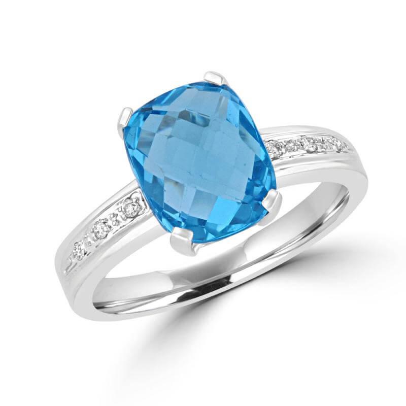 8X10 CUSHION CHECKER BLUE TOPAZ AND DIAMOND RING