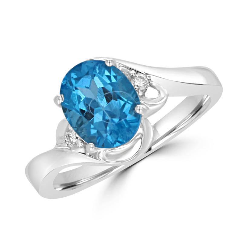 7X9 OVAL BLUE TOPAZ & ONE DIAMOND EACH SIDE RING