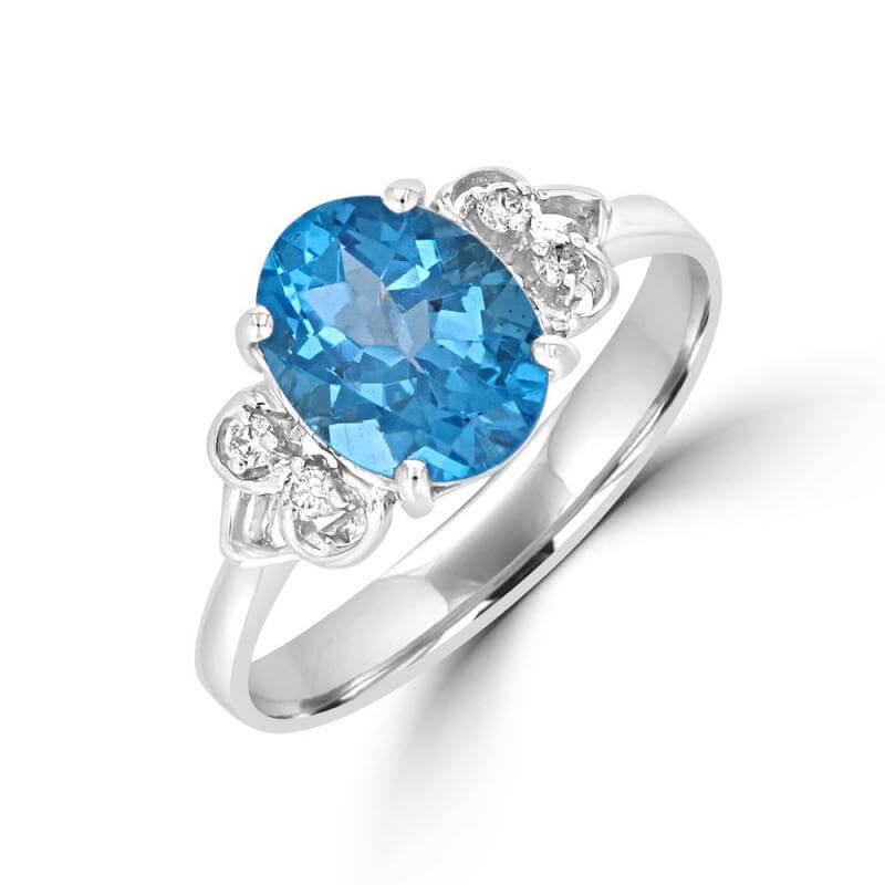 7X9 OVAL BLUE TOPAZ & TWO DIAMONDS ON EACH SIDE RING