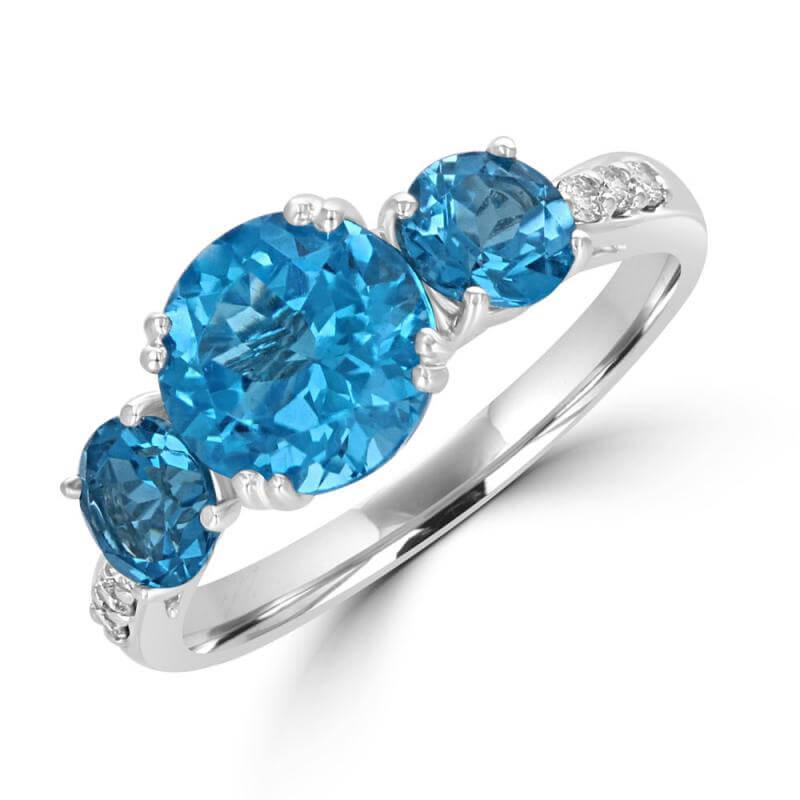 3RND BLUE TOPAZ & DIAMOND RING