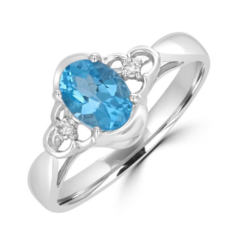 5X7 OVAL BLUE TOPAZ & ONE DIAMOND EACH SIDE RING