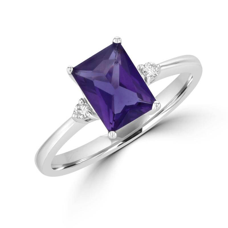 6X8 FANCY BAGUETTE AMETHYST AND ONE DIAMOND ON EACH SIDE RING
