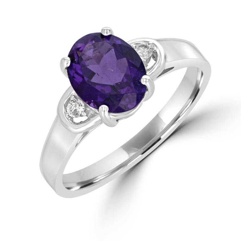 7X9 OVAL AMETHYST AND DIAMOND ON EACH SIDE RING
