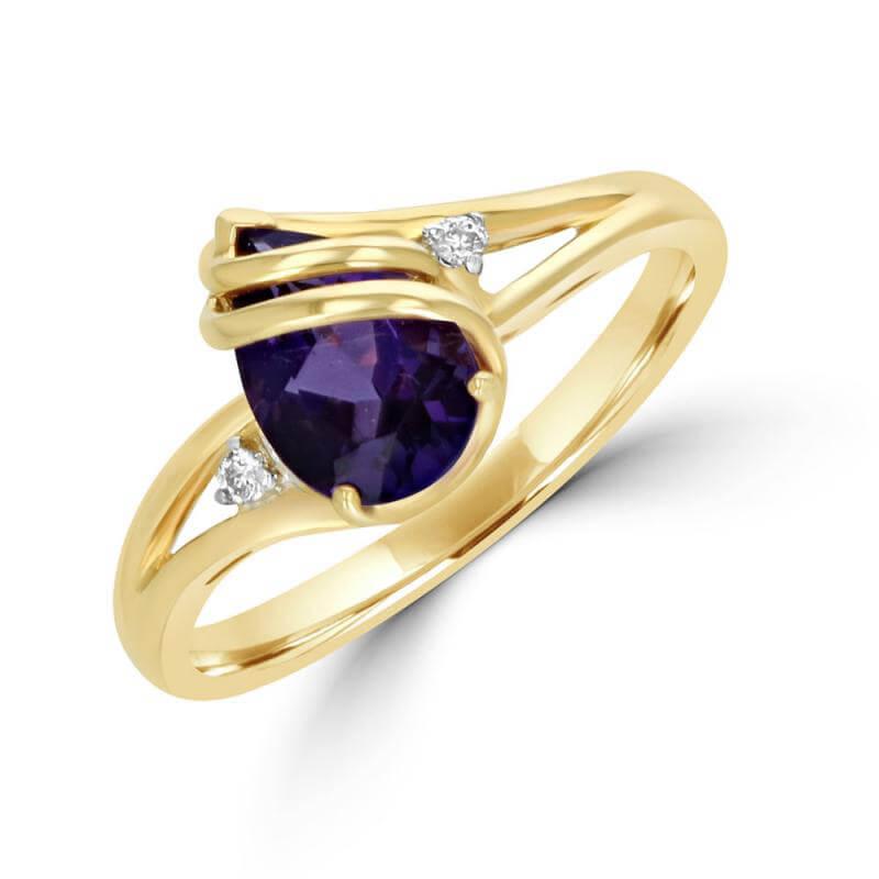 PEAR AMETHYST & DIAMOND EACH SIDE RING