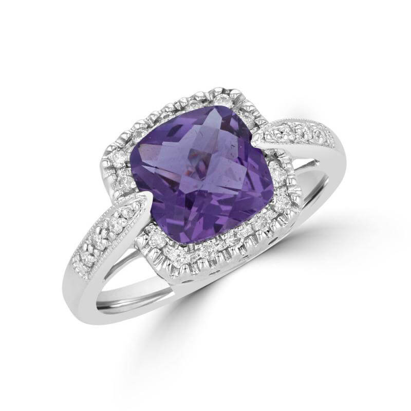 8MM CUSHION CHECKERED AMETHYST SURROUNDED BY DIAMONDS RING