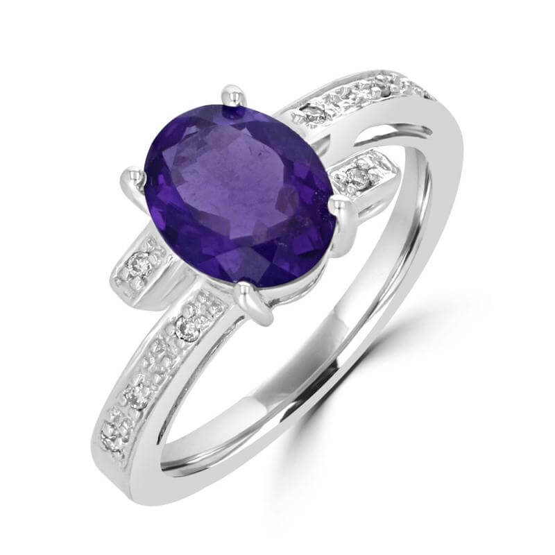7X9 OVAL AMETHYST AND ROUND DIAMONDS RING