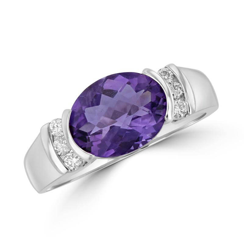 OVAL CHECKER AMETHYST AND ROUND DIAMOND RING
