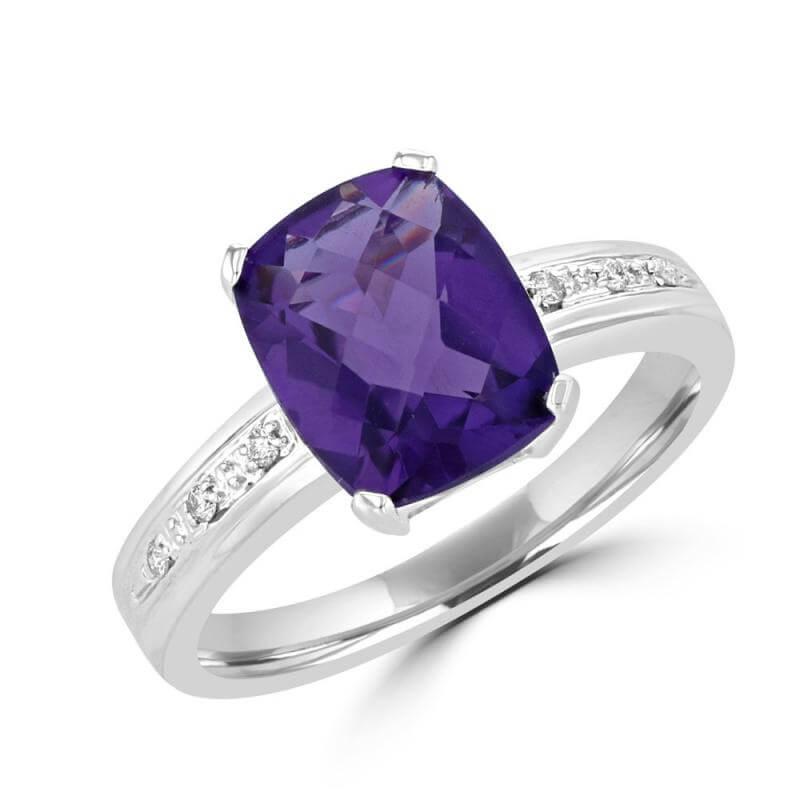 8X10 CUSHION AMETHYST AND ROUND DIAMOND RING