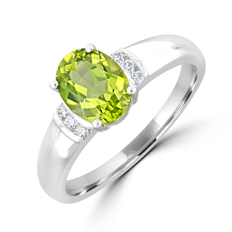 6X8 OVAL PERIDOT AND CHANNEL DIAMOND RING
