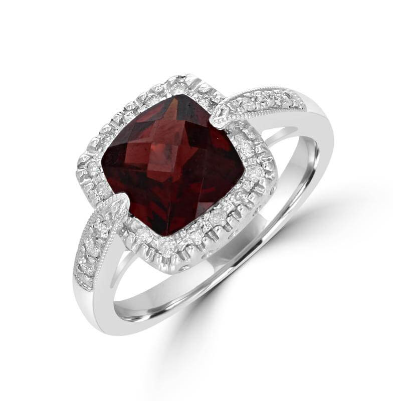 8MM CUSHION CHECKERED GARNET SURROUNDED BY DIAMONDS RING